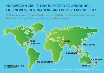Highlights include new three-, four-, six- and seven-day itineraries aboard Norwegian Epic from Port Canaveral; and new South American itineraries featuring Brazil aboard Norwegian Sun