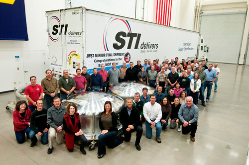 The final James Webb Space Telescope mirrors built by Ball Aerospace get a send-off from the manufacturing team before departing to the Goddard Space Flight Facility. A total of eighteen primary mirrors will be integrated at Goddard prior to a scheduled launch in 2018.  (PRNewsFoto/Ball Aerospace & Technologies Corp.)