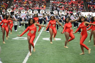 """The Howard University """"Showtime"""" Marching Band showcase their electrifying musical talent at the 13th annual Honda Battle of the Bands Invitational Showcase on Jan. 24, 2015"""