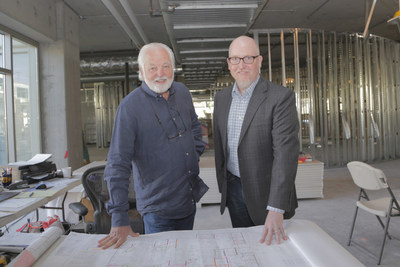 Agency chairman, Joe Phelps, left, and newly appointed president, Ed Chambliss, review plans for Phelps' new offices. After outgrowing the largest agency-owned building in Los Angeles, Phelps has signed a 10-year lease at The Bluffs in Playa Vista.