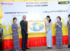 Chris Cruzado, regional vice president, Oceania & Indochina, Western Union, presents the Western Union world map during the launching ceremony in Yangon, Myanmar.  (PRNewsFoto/Western Union)