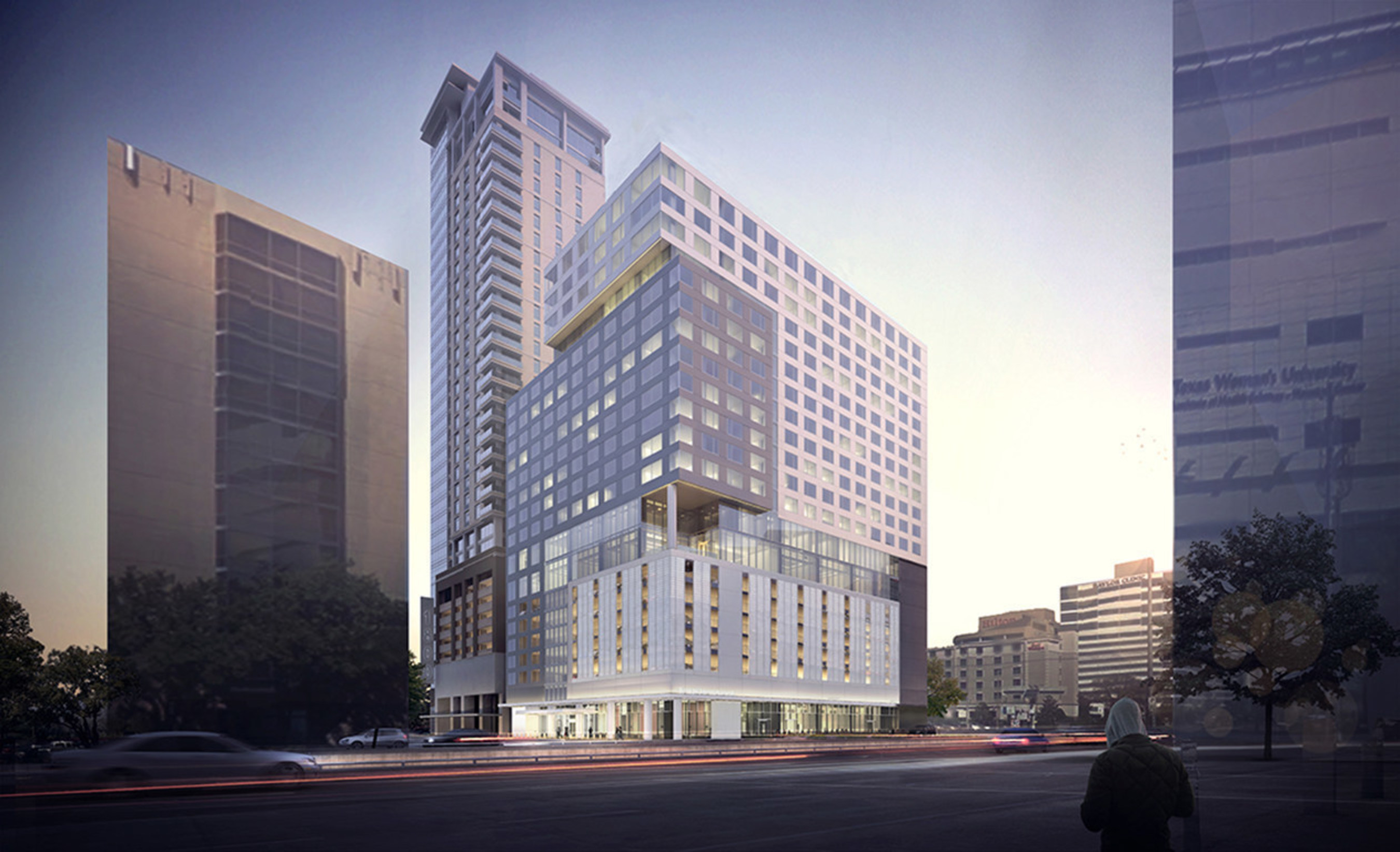 Construction has started on new InterContinental(R) Houston Medical Center hotel and Greystar Latitude Med Center luxury apartment tower in Houston, Texas, adjacent to the world's largest medical complex.