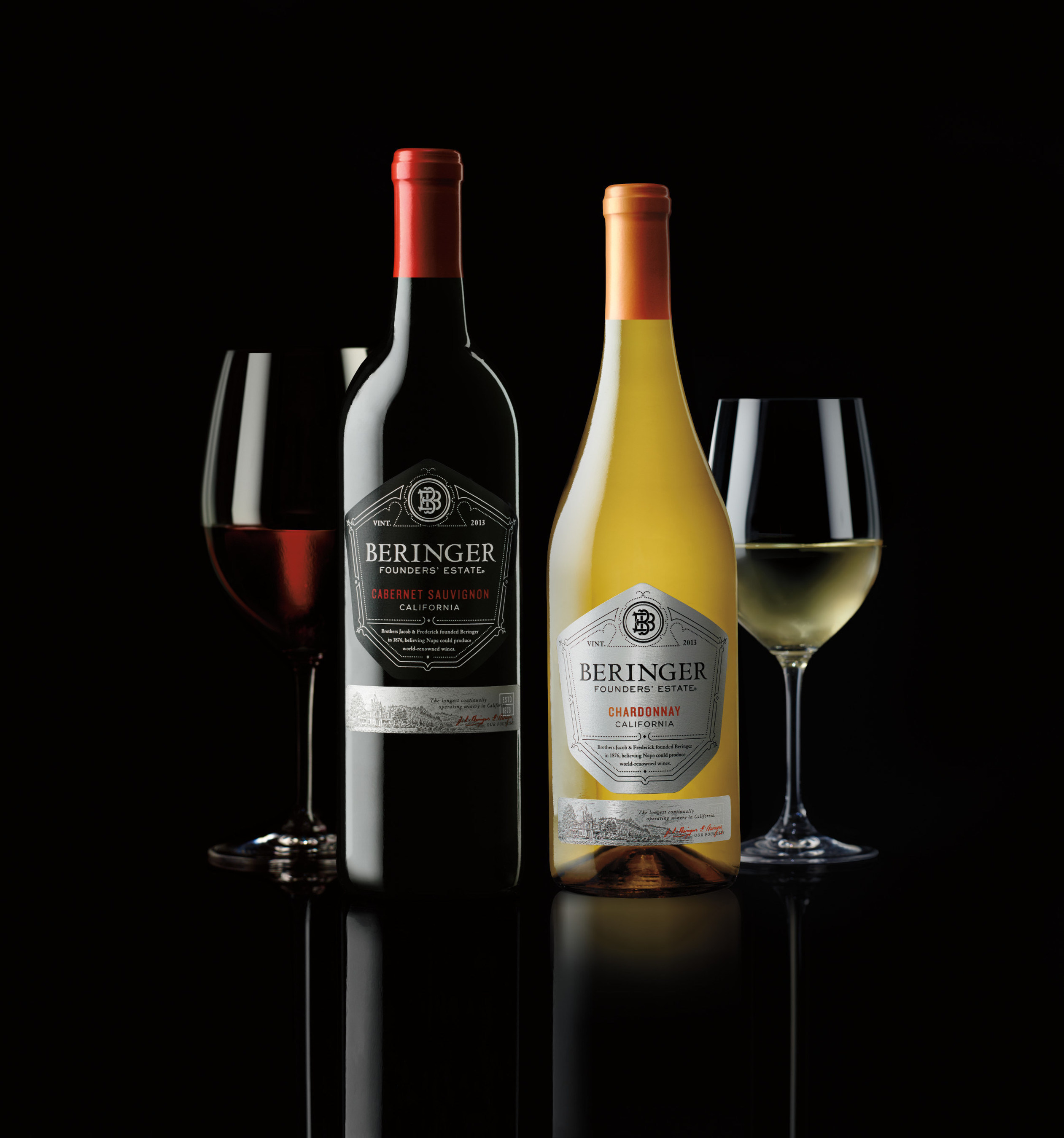 Beringer Founders' Estate Cabernet Sauvignon and Chardonnay.