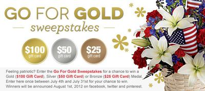 Go for Gold with From You Flowers! Enter to win a Gold ($100), Silver ($50) or Bronze ($25) Gift Card, now through July 31st.  (PRNewsFoto/FromYouFlowers.com)
