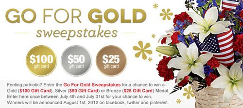 July's Go For Gold Sweepstakes Hosted by FromYouFlowers.com