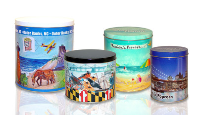 Ball's Outer Banks, Maryland, Fisher's Popcorn New York and Fisher's Popcorn Beach Scene specialty tins recognized for industry-leading graphics at 2013 SGIA Golden Image Awards.  (PRNewsFoto/Ball Corporation)