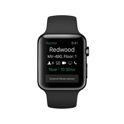 View and extend conference room reservations from an Apple Watch with MobileIron Rooms.