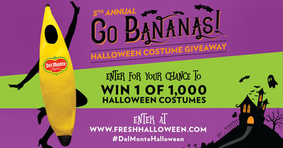 "It's that time of year again! The Del Monte 5th Annual ""Go Bananas!"" Halloween promotion gives consumers the chance to win a Del Monte branded banana costume to wear for their Halloween festivities. The contest will randomly award a banana costume to 1,000 Del Monte(R) banana fans who enter online at www.freshhalloween.com. The four-week promotion ends on September 30th, 2016 in order to guarantee costume delivery in time for Halloween."