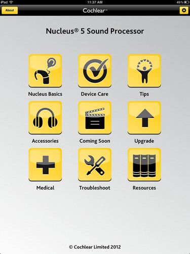 Cochlear Americas launches a new smartphone application for its Nucleus Cochlear Implant recipients. The Nucleus Support App, which can be downloaded for free from iTunes or Google Play for Android, provides information and assistance to recipients whenever and wherever they need it.  (PRNewsFoto/Cochlear Americas)