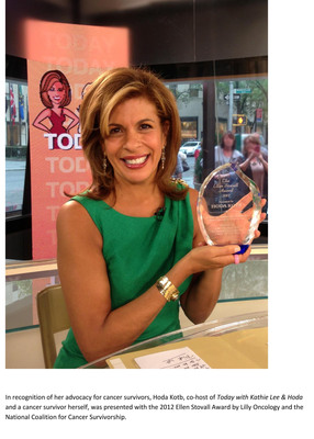 In recognition of her advocacy for cancer survivors, Hoda Kotb, co-host of Today with Kathie Lee & Hoda and a cancer survivor herself, was presented with the 2012 Ellen Stovall Award by Lilly Oncology and the National Coalition for Cancer Survivorship.  (PRNewsFoto/Eli Lilly and Company)