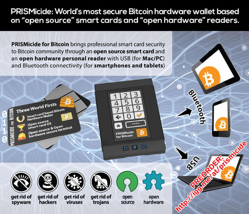 PRISMicide: World's most secure Bitcoin hardware wallet based on 'open source' smart cards and 'open hardware' readers. (PRNewsFoto/PRISMicide)