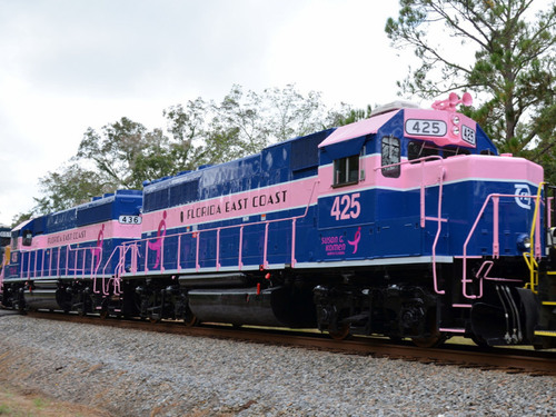 The Florida East Coast Railway Recognizes Breast Cancer Awareness With New Paint Scheme Of Two Locomotives.  (PRNewsFoto/Florida East Coast Railway)