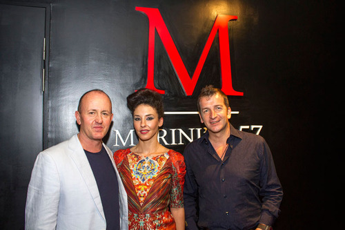 (L-R) Danny Rampling and his wife, Ilona with Modesto Marini, owner of Marini's on 57, at the Annual F1 Kick Off Party. (PRNewsFoto/Marini's on 57) (PRNewsFoto/MARINI'S ON 57)
