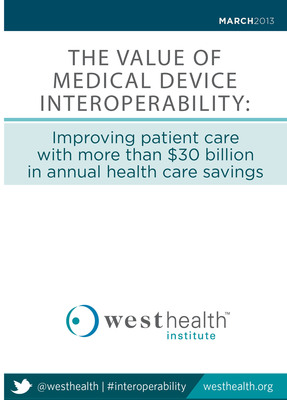 A new analysis released today by the West Health Institute (WHI) at a hearing before the House Energy and Commerce Subcommittee on Health estimates that medical device interoperability - the ability of medical devices and health care systems to seamlessly communicate and exchange information - could be a source of more than $30 billion a year in savings and improve patient care and safety. Download the study at www.westhealth.org/institute/interoperability.  (PRNewsFoto/West Health Institute)