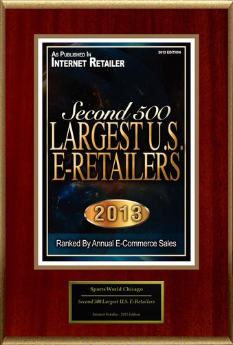 """SportsWorldChicago.com Selected For """"Second 500 Largest U.S. E-Retailers"""".  (PRNewsFoto/SportsWorldChicago.com)"""