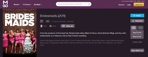 "MOVIE LOVERS GET FIVE DAYS TO STREAM THE HIT COMEDY ""BRIDESMAIDS,"" COMPLIMENTS OF M-GO. Fan-Favorited ..."