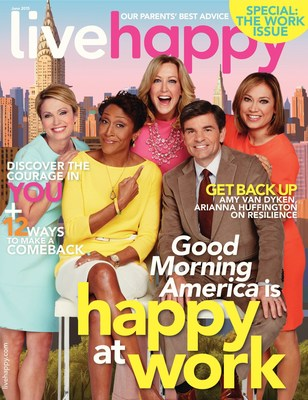 """Live Happy magazine announces ABC News' Good Morning America co-anchors on cover of May/June issue. The co-anchors reveal their secrets to happiness and well-being exclusively in this workplace edition. The """"Happy at Work"""" special section also profiles other companies including Patagonia, Brown Paper Tickets, EverFi and Logitech."""