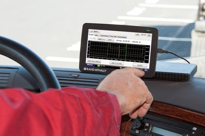 Rand McNally Announces All-platform Availability for HD 100 E-Log Device. Device leverages drivers' technology investment, provides HOS functionality and more! The HD 100, a small black box about the size of a deck of cards, plugs into a truck's on-board diagnostic port and records the truck's GPS position along with critical vehicle-specific information and driving behavior. (PRNewsFoto/Rand McNally)