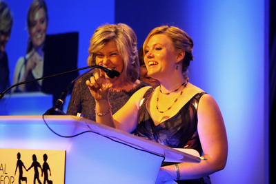Abduction survivor, Jaycee Dugard, and her mother, Terry Probyn, address the crowd at the 2013 Hope Awards. Jaycee and her family were recognized by the National Center for Missing & Exploited Children for their example of courage and resilience. They were reunited in 2009 after Jaycee was abducted 18 years before.