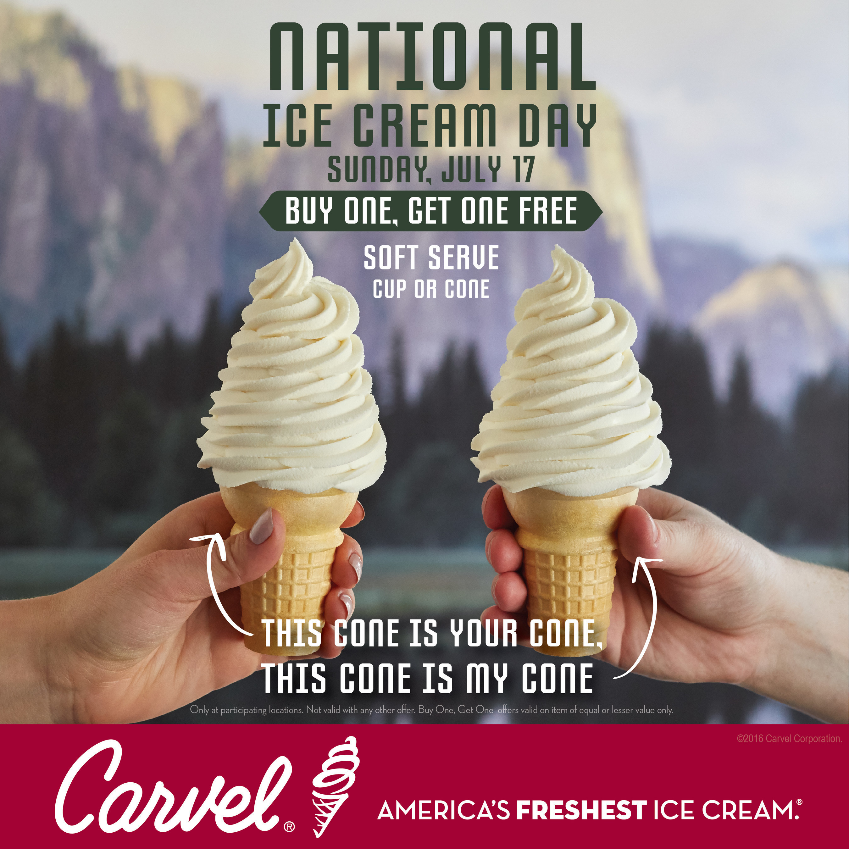 To Lick or Bite? Carvel celebrates National Ice Cream Day by solving the debate and offering Buy One Get One FREE ice cream cones all day on July 17th!