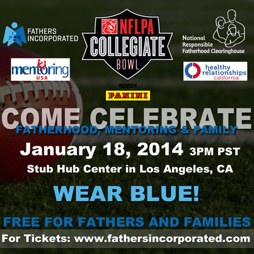 Fatherhood and Mentoring Take the Field at NFL Players Association Collegiate Bowl, NFLPA, National Responsible Fatherhood Clearinghouse (NRFC). (PRNewsFoto/National Responsible Fatherhood Clearinghouse) (PRNewsFoto/NRFC)
