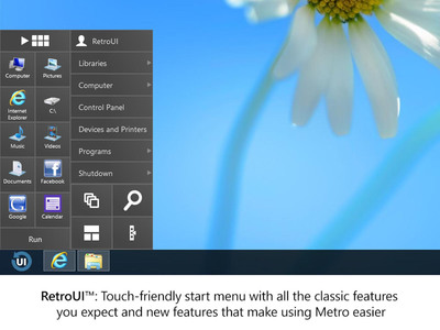 RetroUI Brings an Intuitive Start Menu to Users in Windows 8.   (PRNewsFoto/Thinix)