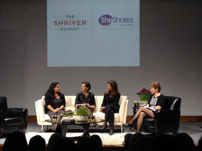 She Shares panel discussion on The Shriver Report, moderated by Dewey Square Group's Karen Breslau, included Maria Shriver, Karen Skelton and Binita Pradhan, who was featured in the Report. (PRNewsFoto/She Shares, Barbara Kinney) (PRNewsFoto/SHE SHARES)