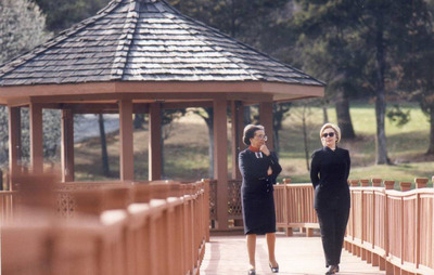 Marian Wright Edelman and Hillary Rodham Clinton at the CDF Haley Farm.  (PRNewsFoto/Children's Defense Fund)
