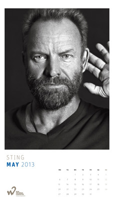 Sting poses for the 2013 Hear the World Calendar to help raise awareness around the neglected issue of hearing health and the serious consequences of hearing loss. All proceeds from the sale of the calendars will go to projects supported by the charitable Hear the World Foundation, which runs a global campaign to help people in need as a result of hearing loss. Available at www.hear-the-world.com at a price of $38.35 (EUR 29.90/CHF 34.90) - the perfect gift for those who love celebrity photographs and want to support a good cause.  (PRNewsFoto/Hear the World)