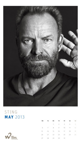Sting poses for the 2013 Hear the World Calendar to help raise awareness around the neglected issue of hearing health and the serious consequences of hearing loss. All proceeds from the sale of the calendars will go to projects supported by the charitable Hear the World Foundation, which runs a global campaign to help people in need as a result of hearing loss. Available at www.hear-the-world.com at a price of $38.35 (EUR 29.90/CHF 34.90) - the perfect gift for those who love celebrity photographs and want to support a good cause.  ...