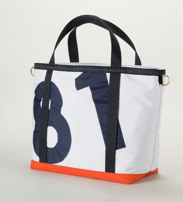 Sail away in style with Lands' End's exclusive Ella Vickers Tote and Duffel handcrafted in the USA from recycled sailcloth.  (PRNewsFoto/Lands' End)