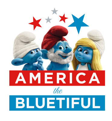 "Red, White, And Smurfy Blue: The Smurfs(TM) Celebrate ""America The Bluetiful"" And Help To Preserve Our Country's Environment. (PRNewsFoto/Sony Pictures Entertainment)"