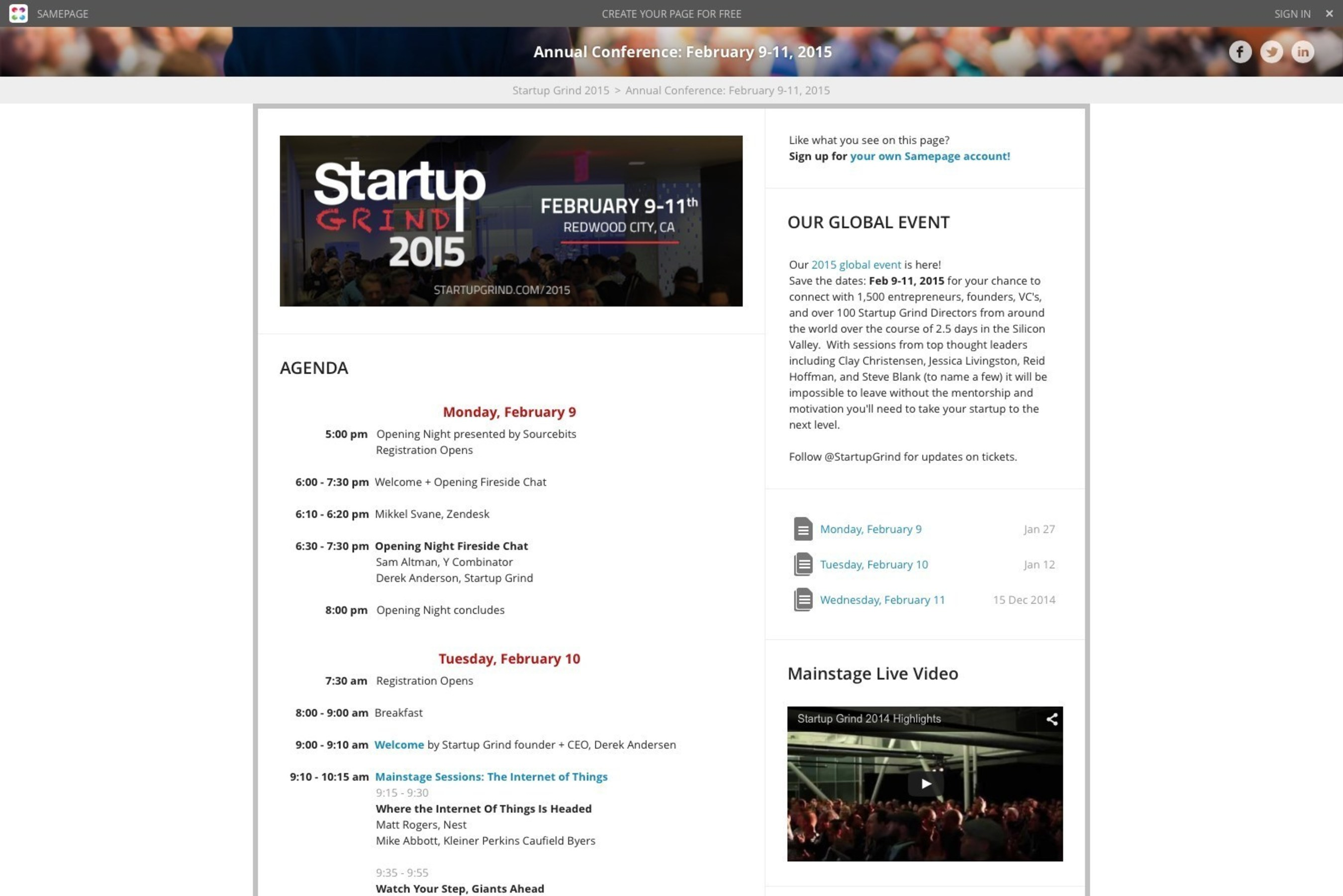 Samepage for Startup Grind official event pages screenshot