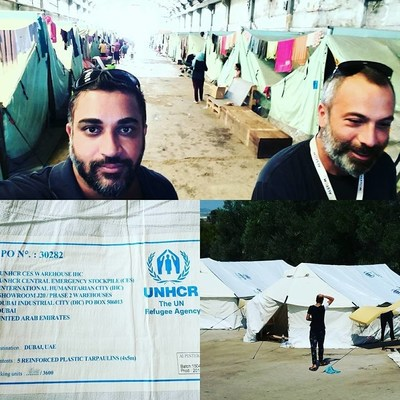 Jayme Illien, United Nations advisor and Founder of the United Nations International Day of Happiness Founder meets with Iraqi and Syrian refugees at Swiss Cross UNHCR refugee camp in Sindos, Greece