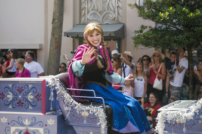 "Twice each day, from June 17 through Sept. 7, Anna, Elsa and Kristoff from Disney's ""Frozen"" take part in a festive cavalcade throughout Hollywoodland, accompanied by the Royal Arendelle Flag Corps and a flurry of skaters, skiers and ice cutters, along with lovable snowman, Olaf. It's all part of ""Frozen"" Summer Fun, now at Disney's Hollywood Studios, one of four theme parks at Walt Disney World Resort in Lake Buena Vista, Fla. (Chloe Rice, photographer)"