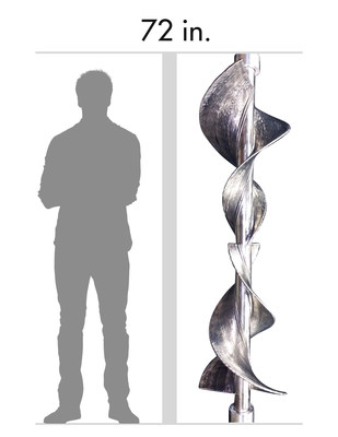 A representation of scale: EBAM part and a 6-foot-tall man.