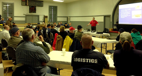 First responders and public safety officials listen to Phillip Oakes during training sponsored by PVR Partners ...