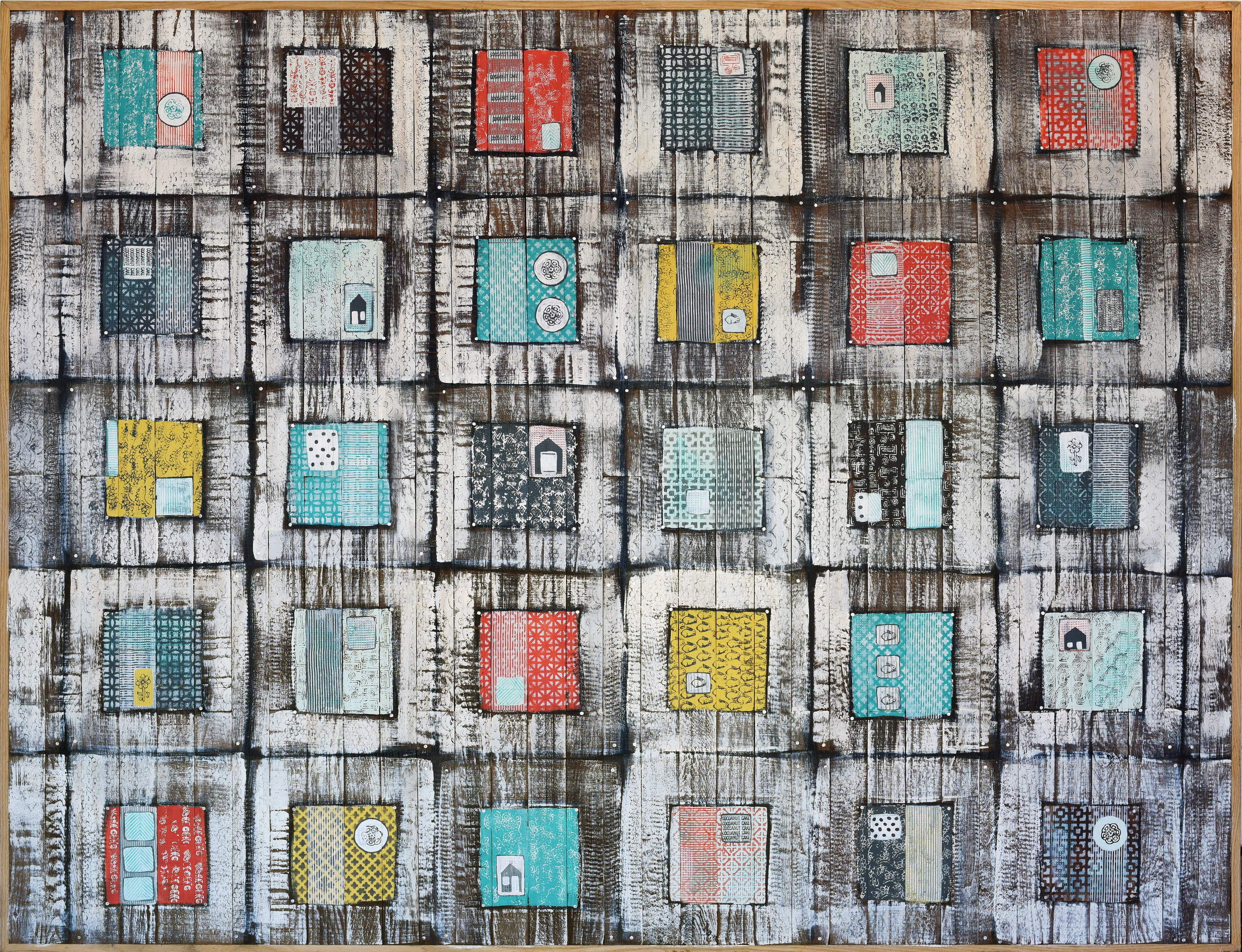 "Blocks of Time by Heather Roth; Acrylic on Reclaimed Oak; 60""x80"""