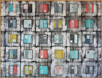 """Blocks of Time by Heather Roth; Acrylic on Reclaimed Oak; 60""""x80"""""""