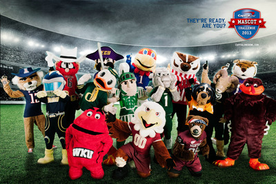 The 2013 All-America Capital One Mascot Challenge team. One mascot will become the Capital One National Mascot of the Year and will be crowned at the Capital One Bowl on January 1, 2014. The winning school will be awarded a $20,000 scholarship toward its mascot program and each participating Capital One All-America mascot's school will also receive $5,000 for their respective mascot program.  (PRNewsFoto/Capital One)
