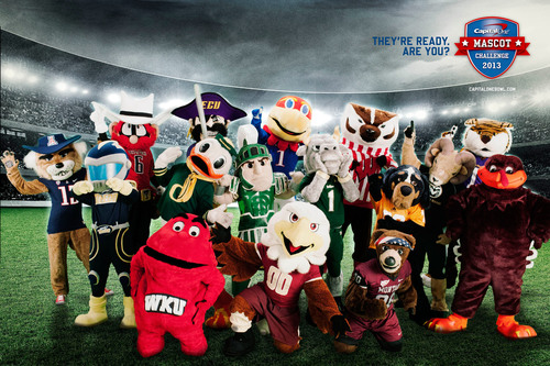 The 2013 All-America Capital One Mascot Challenge team. One mascot will become the Capital One National Mascot ...