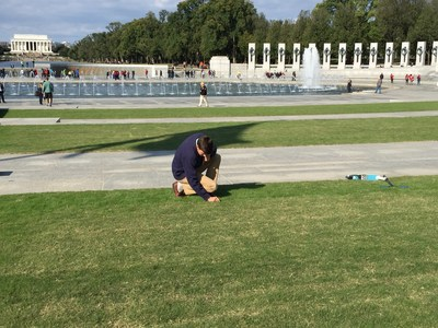 The lawn at the National World War II Memorial is a place of reflection and for people to gather. It's also a National Parks test site for a new cold tolerant, wear tolerant grass called PremierPRO Bermudagrass.