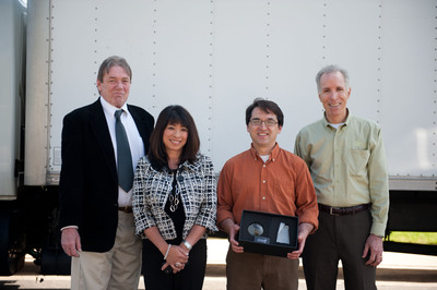 Pictured from left to right: Bruce Wall, VP of Resource Efficiency Programs, ARCA; Caroline Winn, VP of Customer Services and Chief Customer Privacy Officer, SDG&E; Michael Thomas, customer; Jeff Woloz, VP and General Manager, ARCA California.    (PRNewsFoto/Appliance Recycling Centers of America, Inc.)