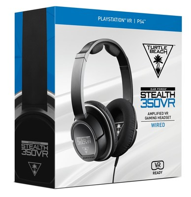 "Turtle Beach's all-new STEALTH 350VR headset elevates VR gaming audio from good to amazing, with battery-powered amplification, Bass Boost, 3D surround sound, and a lightweight and comfortable ""built for VR"" design. Available at participating retailers nationwide for a MSRP of $79.95."