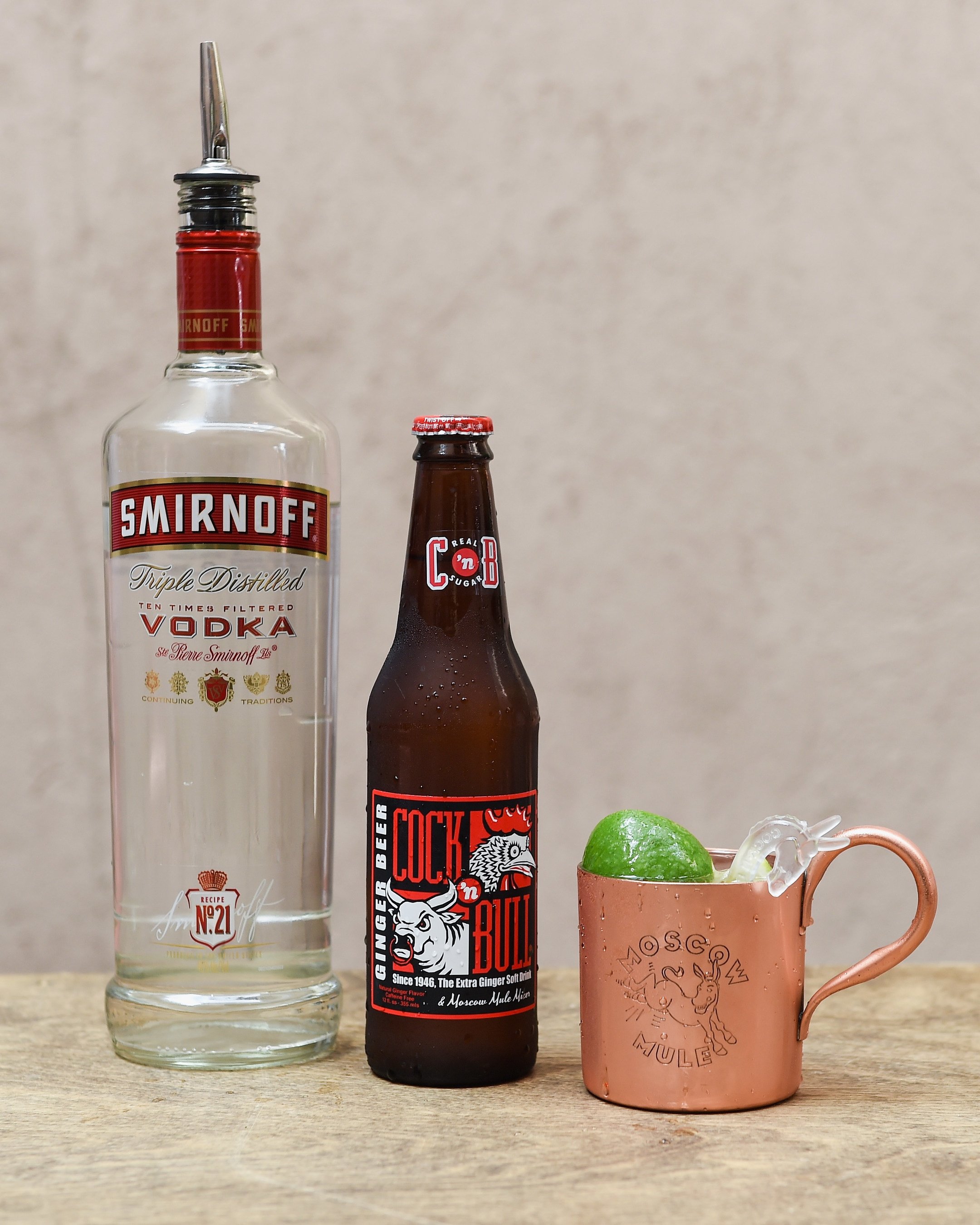 The original Moscow Mule, created 75 years ago, is made with SMIRNOFF No. 21, Cock'n Bull Ginger Beer and a squeeze of lime. (Photo by Erika Goldring/Getty Images for Smirnoff)
