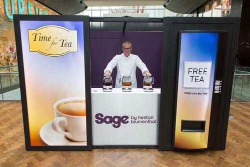 Heston Blumenthal as revealed to the unsuspecting public inside the vending machine, offering green, white and oolong tea (PRNewsFoto/Sage Appliances)