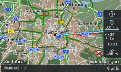 INRIX XD Traffic-powered navigation in the 2011 Audi A6.  (PRNewsFoto/INRIX)