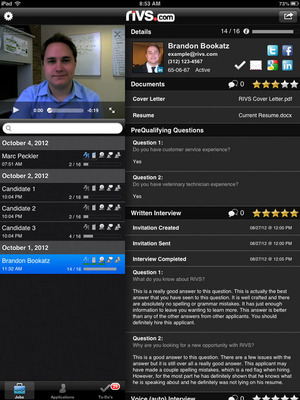 Use RIVS to conduct and review video, voice, and written interviews from your mobile device.  (PRNewsFoto/RIVS)