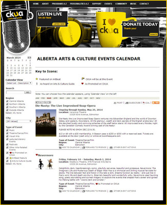 CKUA's online event calender, powered by Trumba.  (PRNewsFoto/Trumba Corporation)