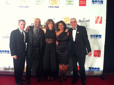Marriott International Shines at Straight for Equality Gala. L to R: Jody Huckaby, PFLAG National Executive Director; Apoorva Gandhi; Comedian, LGBT ally and the Gala Emcee, Lizz Winstead; Jimmie Paschall and Rabbi David Horowitz, PFLAG National President.  (PRNewsFoto/Marriott International, Inc.)